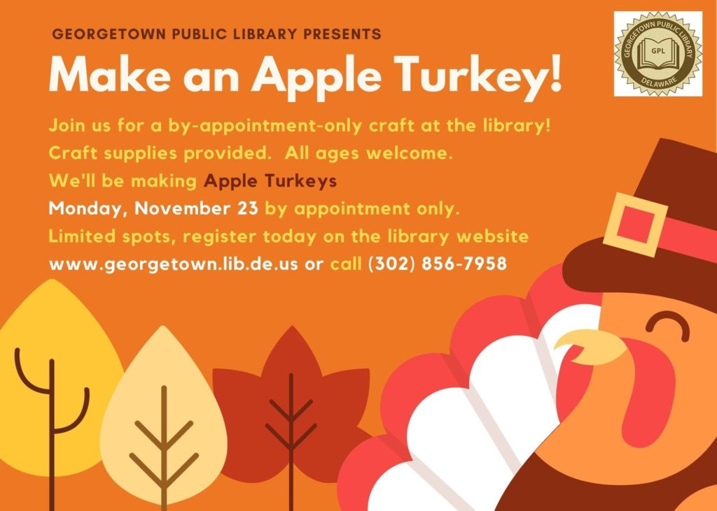 Georgetown, Delaware, Library Craft for Thanksgiving - Making an Apple Turkey!