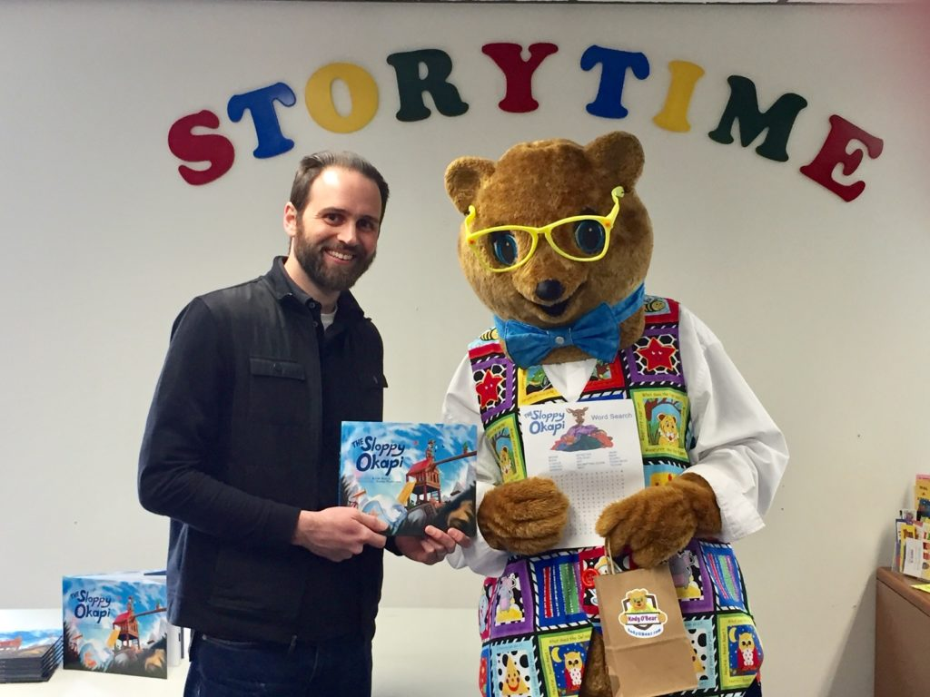 Kody welcomes Keith Bosco as the guest reader for the Reading with Kody O'Bear class at the Milton Public Library, Milton, Delaware. February 2020