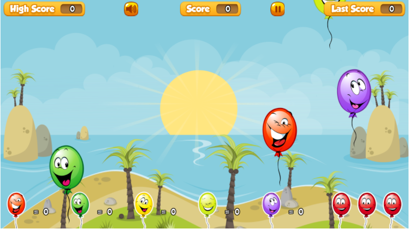 Balloon Paradise Game by SafeKidGames.com