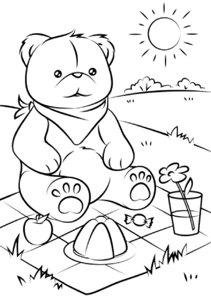 Coloring Page of a little Bear having a picnic