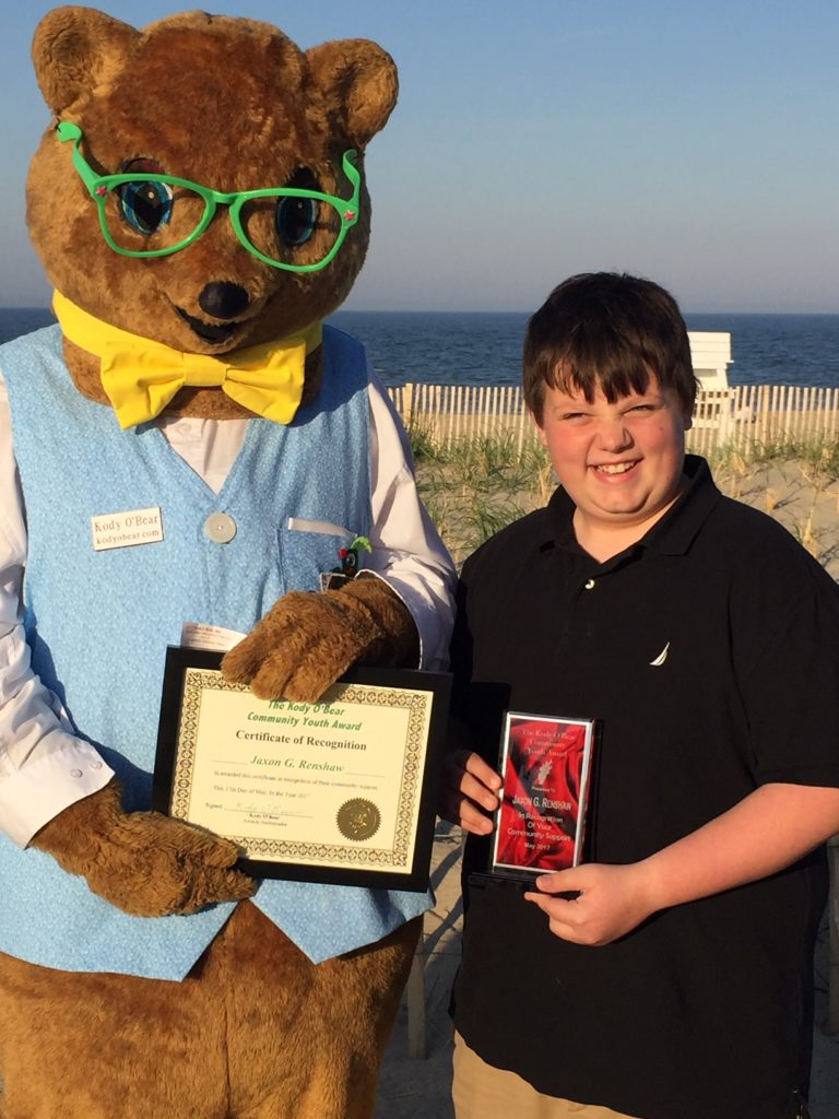 Jaxon Renshaw received the 2017 Kody O'Bear Award for his volunteer work for local Veterans, Beacon Middle School, Lewes, Delaware 2017