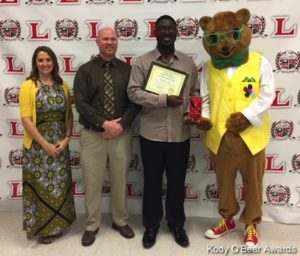 Christian Jackson is the 2018 Kody O'Bear Community Youth Award Recipient