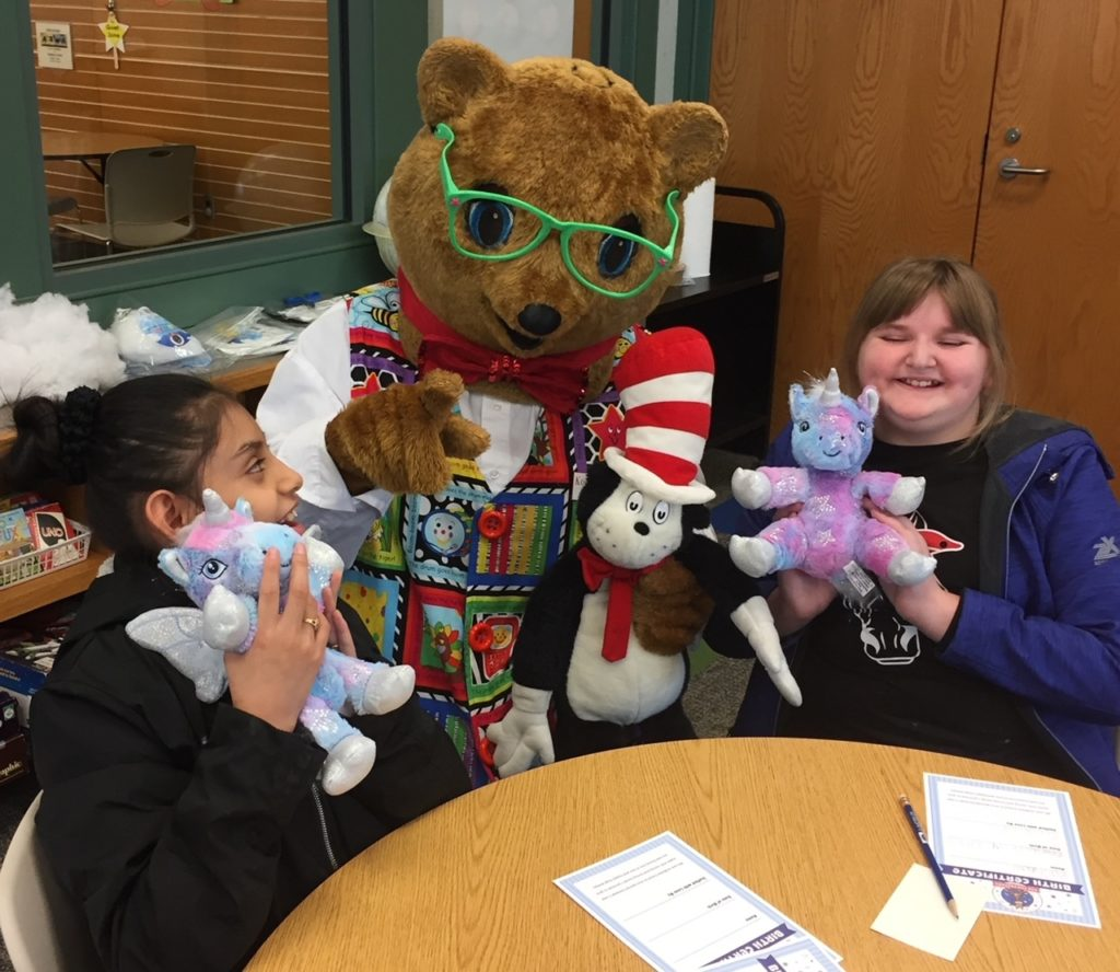 Kody O'Bear is having fun with students at Ennis School at the Georgetown Public Library, Georgetown, Delaware. March 2020