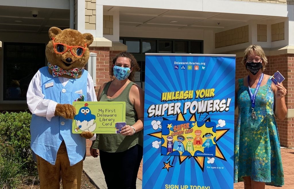 Kody O'Bear with the Georgetown Public Library promoting free library cards, Georgetown, Delaware August 2020