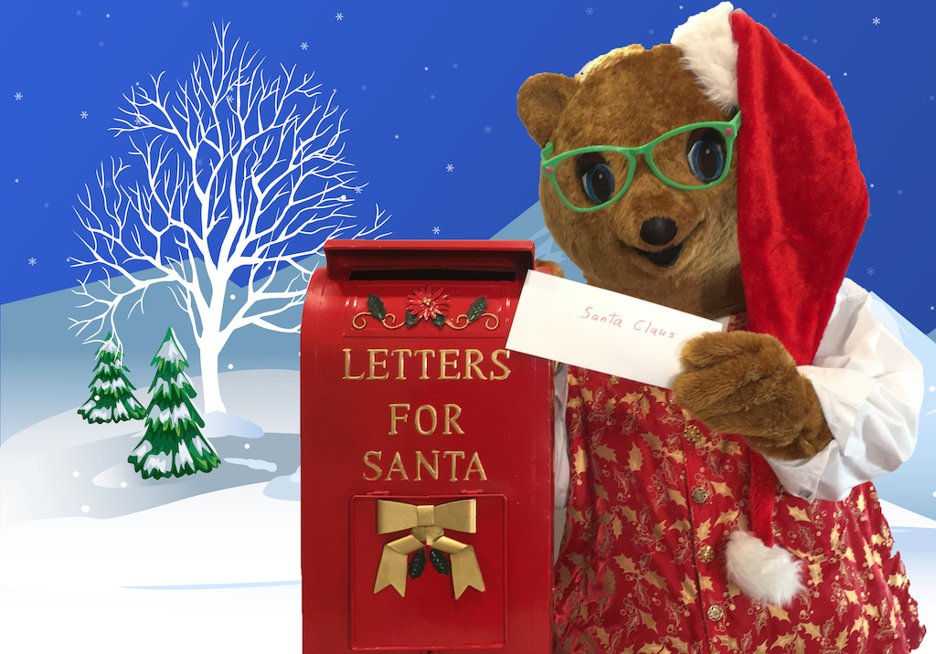 Kody O'Bear Helping Out Santa Claus with Christmas Letters
